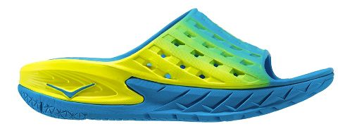 Mens Hoka One One Ora Recovery Slide Sandals Shoe - Blue/Citrus 9