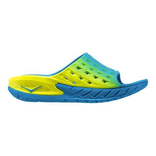 Mens Hoka One One Ora Recovery Slide Sandals Shoe - Blue/Citrus 8