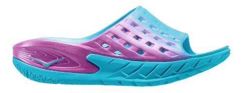 Womens Hoka One One Ora Recovery Slide Sandals Shoe - Blue/Pink 9