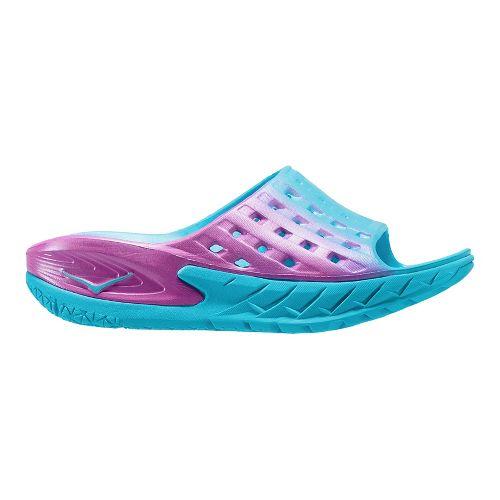 Womens Hoka One One Ora Recovery Slide Sandals Shoe - Blue/Pink 10