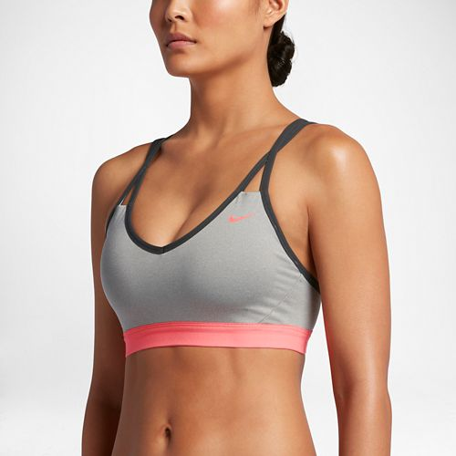 Womens Nike Pro Indy Strappy Sports Bra - Dark Grey Heather L