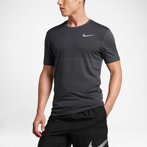 Mens Nike Zonal Cooling Relay Short Sleeve Technical Tops - Anthracite L