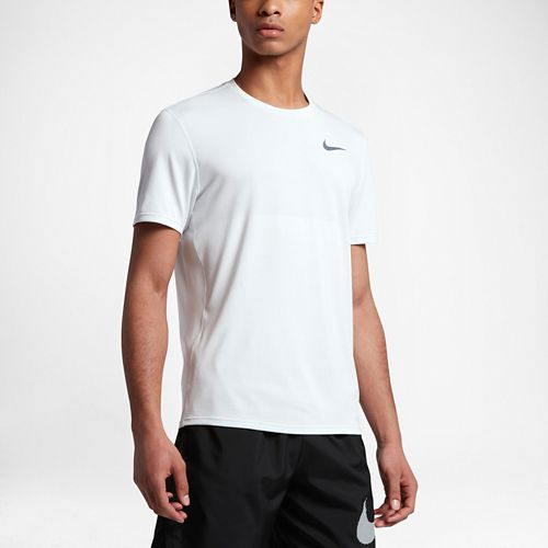 Mens Nike Zonal Cooling Relay Short Sleeve Technical Tops - White M