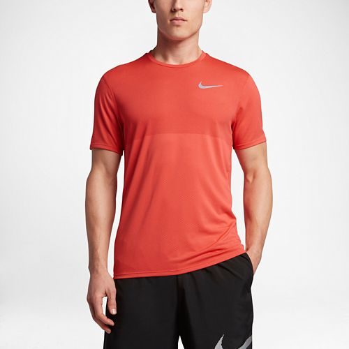 Mens Nike Zonal Cooling Relay Short Sleeve Technical Tops - Max Orange L