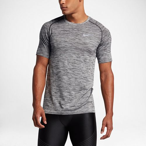 Mens Nike Dri-Fit Knit Short Sleeve Technical Tops - Black/Heather M