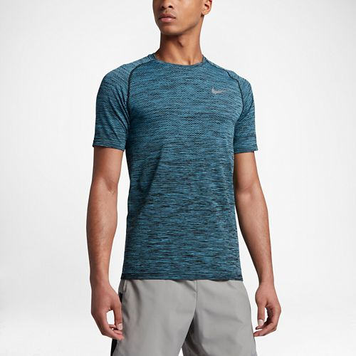 Mens Nike Dri-Fit Knit Short Sleeve Technical Tops - Black/Vivid Sky XL