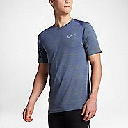 Mens Nike Dri-Fit Knit Short Sleeve Technical Tops - Paramount Blue/Green S
