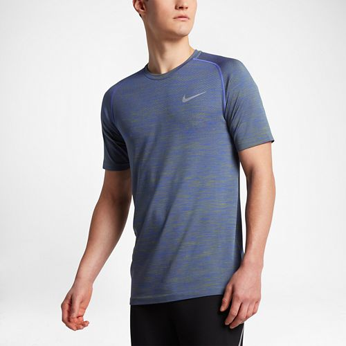 Mens Nike Dri-Fit Knit Short Sleeve Technical Tops - Paramount Blue/Green L