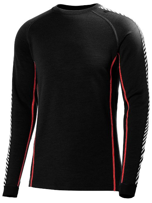 Mens Helly Hansen HH Warm Ice Crew Long Sleeve Technical Tops - Black/Flag Red S