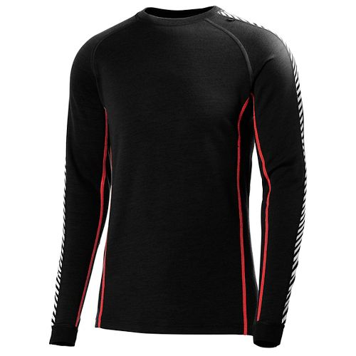 Mens Helly Hansen HH Warm Ice Crew Long Sleeve Technical Tops - Black/Flag Red S ...