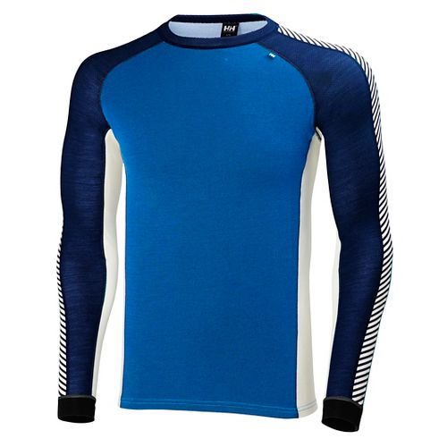 Mens Helly Hansen HH Warm Ice Crew Long Sleeve Technical Tops - Racer Blue/Evening B ...
