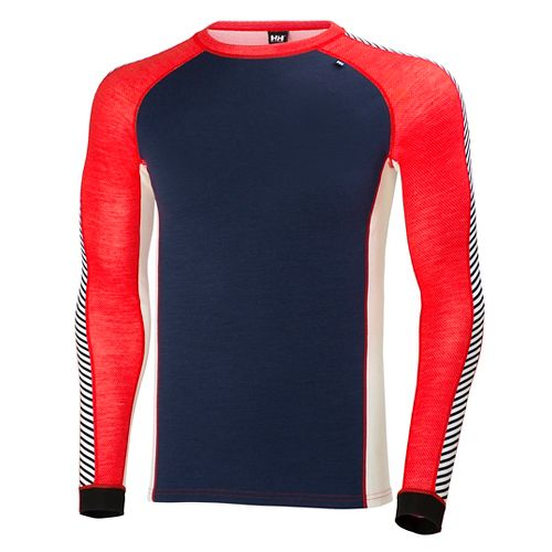 Mens Helly Hansen HH Warm Ice Crew Long Sleeve Technical Tops - Evening Blue/Alert R ...