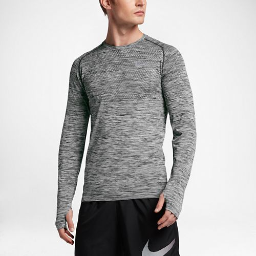 Mens Nike Dri-Fit Knit Long Sleeve Technical Tops - Black/Heather L