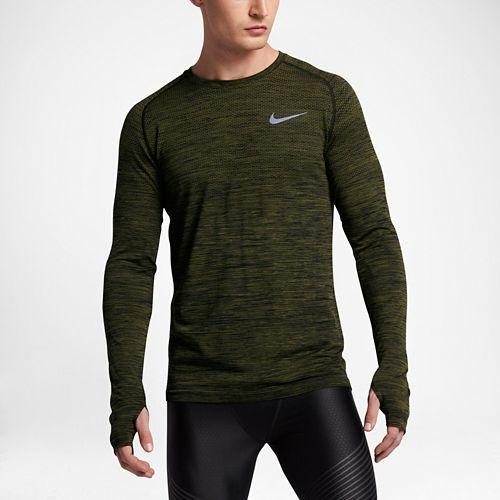 Mens Nike Dri-Fit Knit Long Sleeve Technical Tops - Paramount Blue/Green L