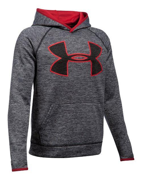 Under Armour Boys Armour Fleece Twist Highlight Half-Zips & Hoodies Technical Tops - Black/Red YS