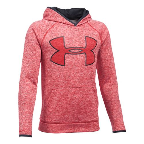 Under Armour Boys Armour Fleece Twist Highlight Half-Zips & Hoodies Technical Tops - Red/Black ...