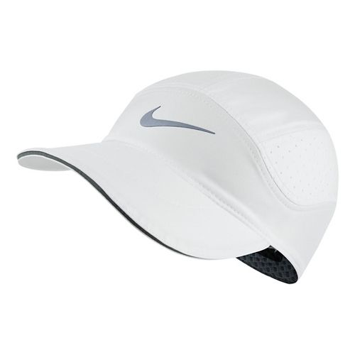 Mens Nike AeroBill Elite Running Cap Headwear - White