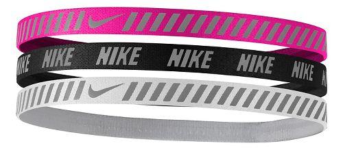Womens Nike Printed Hazard Strip Headbands 3 pack Headwear - Pink Blast