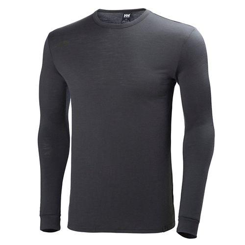 Mens Helly Hansen HH Wool Long Sleeve Technical Tops - Ebony M