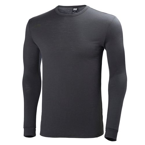Mens Helly Hansen HH Wool Long Sleeve Technical Tops - Ebony XL