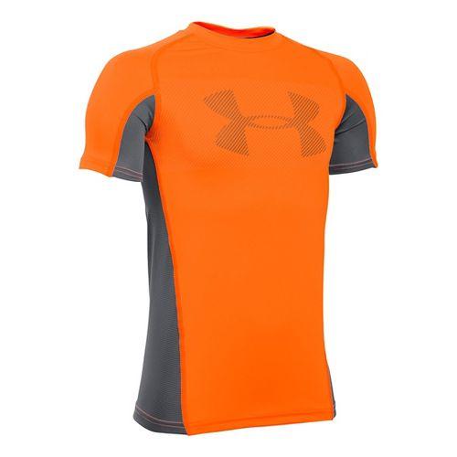 Under Armour Boys Armour Up Grid Short Sleeve Technical Tops - Orange/Graphite YS