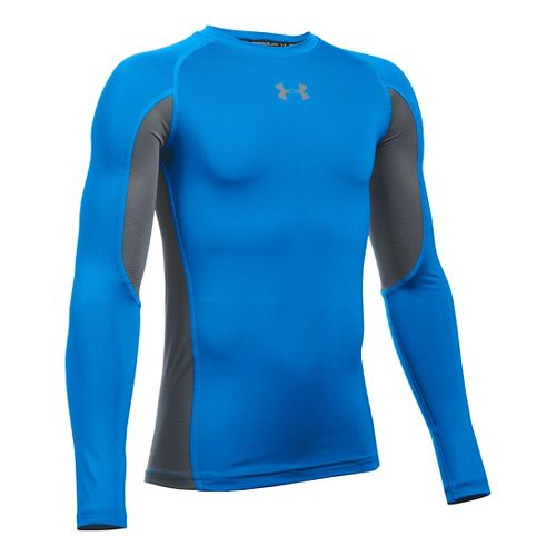 Under Armour Boys Armour Up Long Sleeve Technical Tops - Blue/Graphite YL