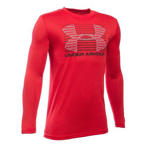 Under Armour Boys Breakthrough Logo T Long Sleeve Technical Tops - Red/Black YM