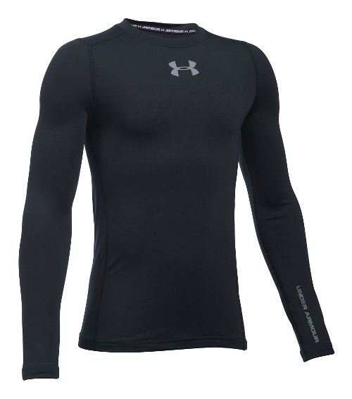 Under Armour Boys ColdGear Crew Long Sleeve Technical Tops - Black YL