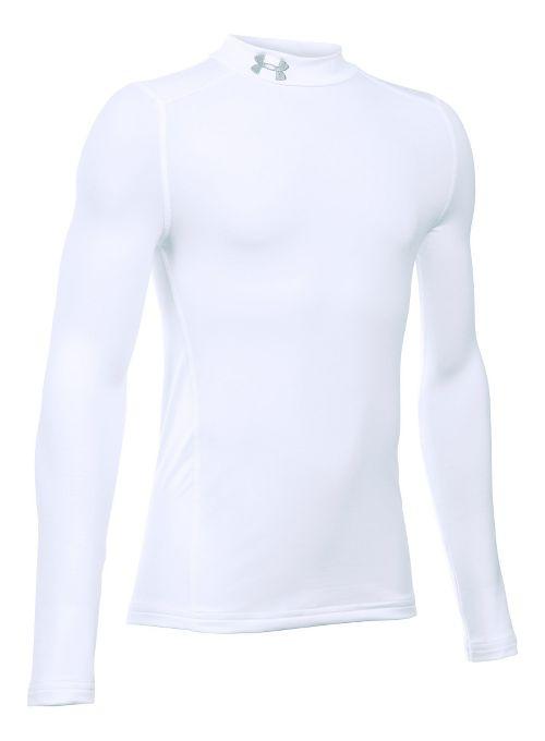 Under Armour Boys ColdGear Mock Long Sleeve Technical Tops - White YXS