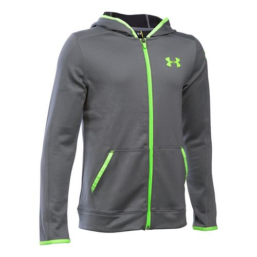 Under Armour Boys ColdGear Fusion Half-Zips & Hoodies Technical Tops - Graphite/Fuel Green YL