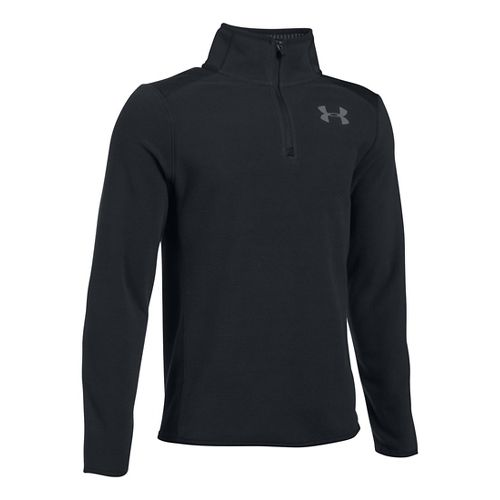 Under Armour Boys Infrared Fleece 1/4 Zip Long Sleeve Technical Tops - Black/Black YXL