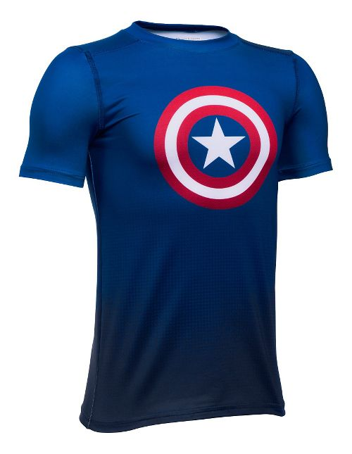 Under Armour Marvel Baselayer Short Sleeve Technical Tops - Royal YL