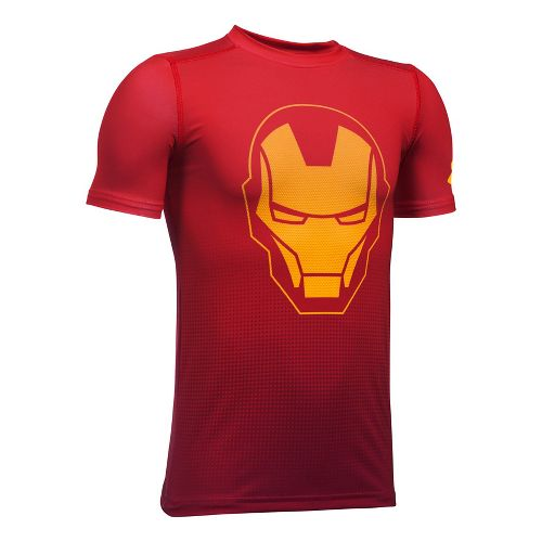 Under Armour Marvel Baselayer Short Sleeve Technical Tops - Red/Gold YXL