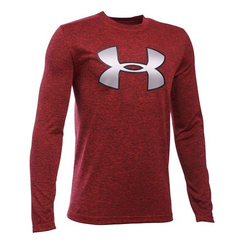 Under Armour Boys Novelty Big Logo T Long Sleeve Technical Tops - Red/Black YM