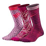 Nike Kids Graphic LW Cotton Crew 3 pack Socks - Purple Multi M