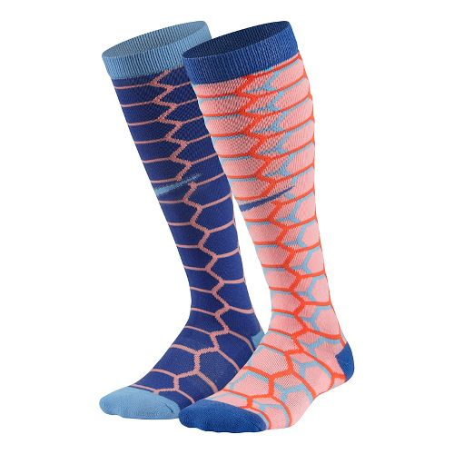 Nike Kids Cushion Graphic Over The Calf 2 pack Socks - Pink Multi M
