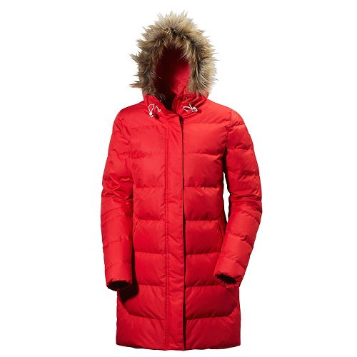 Womens Helly Hansen Aden Down Parka Cold Weather Jackets - Red S