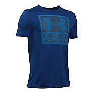 Under Armour Boys Striped Logo T Short Sleeve Technical Tops