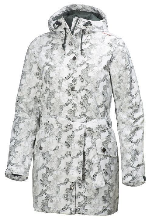 Womens Helly Hansen Lyness Insulated Coat Cold Weather Jackets - Offwhite Print L