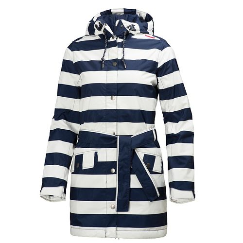 Womens Helly Hansen Lyness Insulated Coat Cold Weather Jackets - Evening Blue Stripe L