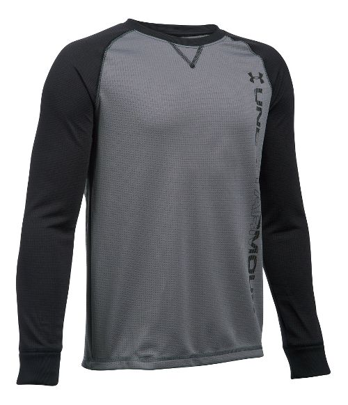 Under Armour Boys Waffle Crew Long Sleeve Technical Tops - Graphite/Black YM