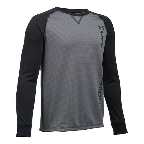 Under Armour Boys Waffle Crew Long Sleeve Technical Tops - Graphite/Black YL