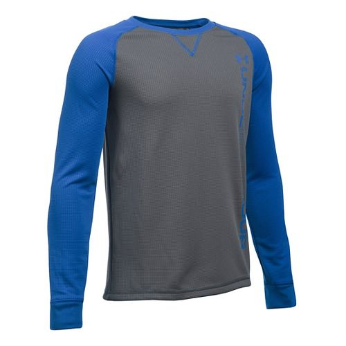 Under Armour Boys Waffle Crew Long Sleeve Technical Tops - Graphite/Ultra Blue YL