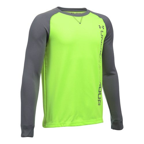 Under Armour Boys Waffle Crew Long Sleeve Technical Tops - Fuel Green/Graphite YS