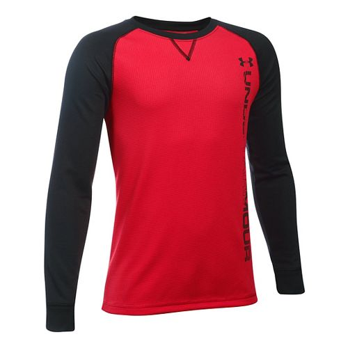 Under Armour Boys Waffle Crew Long Sleeve Technical Tops - Red/Black YM
