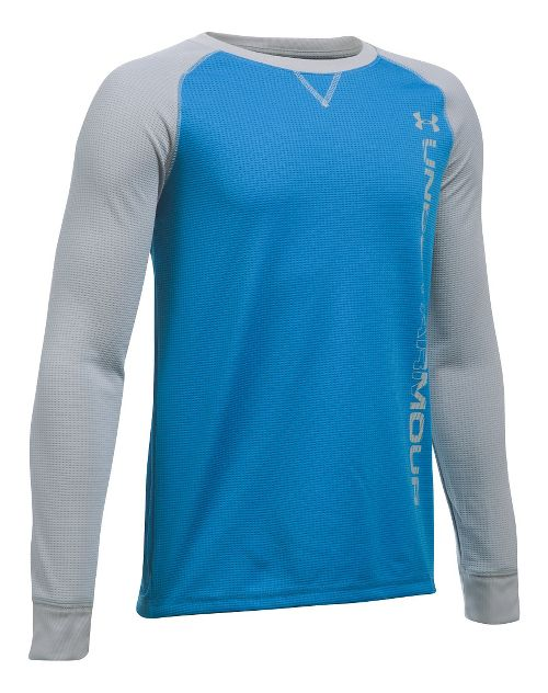 Under Armour Boys Waffle Crew Long Sleeve Technical Tops - Brilliant Blue/Grey YL