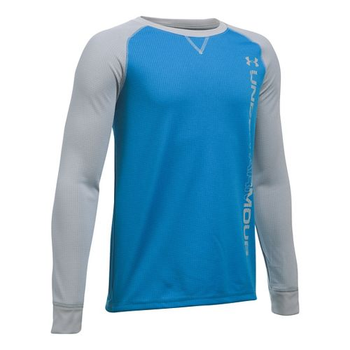 Under Armour Boys Waffle Crew Long Sleeve Technical Tops - Brilliant Blue/Grey YM