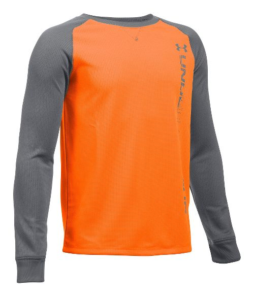Under Armour Boys Waffle Crew Long Sleeve Technical Tops - Orange/Graphite YL