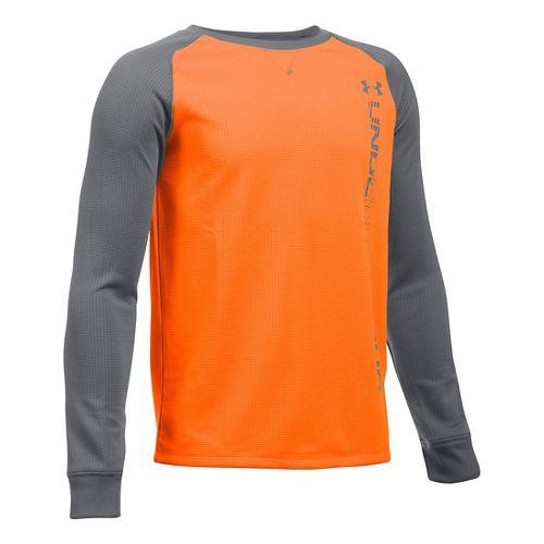 Under Armour Boys Waffle Crew Long Sleeve Technical Tops - Orange/Graphite YXL