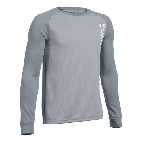 Under Armour Boys Waffle Crew Long Sleeve Technical Tops - Overcast Grey/Steel YS